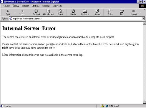 Internetbanka nefunguje